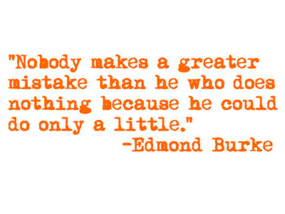 Nobody makes a greater mistake than he who does nothing because he could only do a little. —Edmund Burke